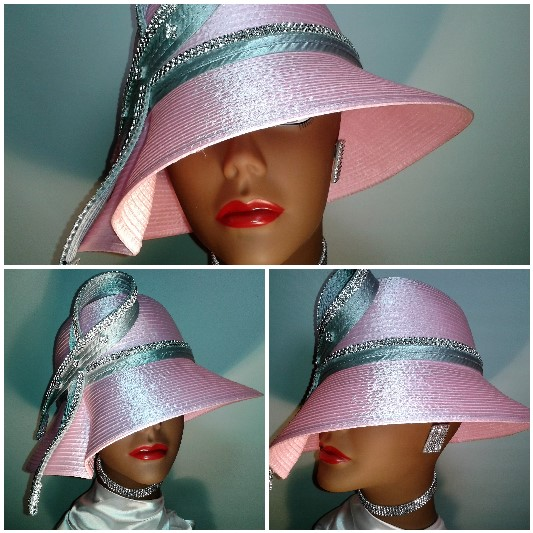 Pink and silver grey satin ribbon hat with clear crystal rhinestone trim.  Item  SS0716-SR07 47a782e27e9